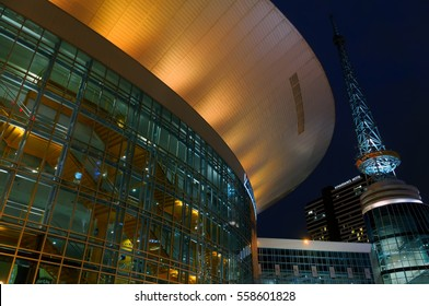 January 2017. Nashville, TN. The night view on Bridgestone arena.The venue  hosts a numerous concerts and sports events including NHL Nashville Predators hockey team games.