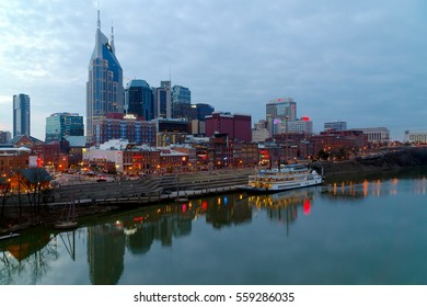 "January 2017. Nashville, TN skyline at dusk. Nashville is the capital of the U.S. state of Tennessee. It is known as a center of the country music industry, earning the nickname ""Music City U.S.A"""