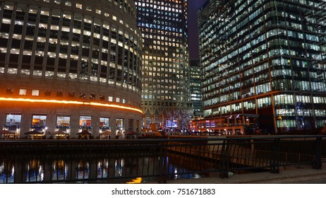 January 2017: Night photo from iconic skyline in Canary Wharf district, Isle of Dogs, London, United Kingdom