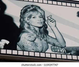 JANUARY 2017 - PALMA: Brigitte Bardot on an advertisorial billboard in in El Erenal, Mallorca.