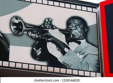 JANUARY 2017 - PALMA: Louis Armstrong on an advertisorial billboard in in El Erenal, Mallorca.