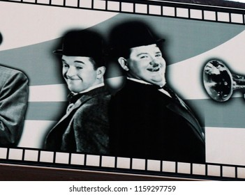 "JANUARY 2017 - PALMA: Stan Laurel und Oliver Hardy (""Dick und Doof"") on an advertisorial billboard in in El Erenal, Mallorca."