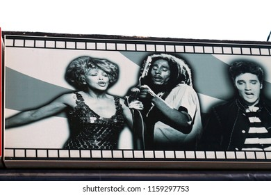 JANUARY 2017 - PALMA: Tina Turner, Bob Marley, Elvis Presley on an advertisorial billboard in in El Erenal, Mallorca.