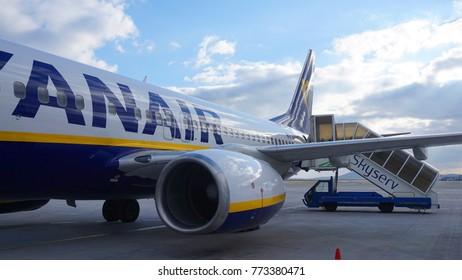 January 2017: Photo of docked aircraft from Eleftherios Venizelos International airport, Spata, Attica, Greece