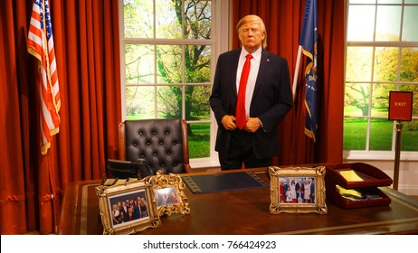 January 2017: Photo of Donald Trump from famous wax museum of Madame Tussaud in center of London, United Kingdom