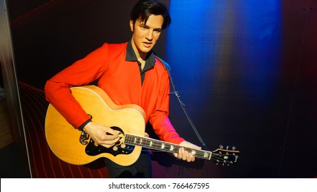 January 2017: Photo of Elvis Presley from famous wax museum of Madame Tussaud in center of London, United Kingdom