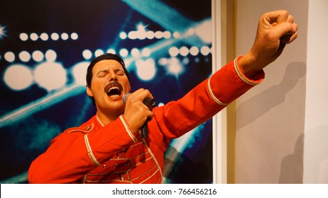 January 2017: Photo of Freddie Mercury from famous wax museum of Madame Tussaud in center of London, United Kingdom
