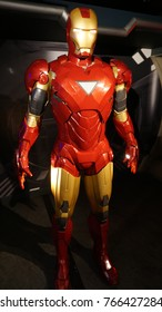 January 2017: Photo of Iron Man from famous wax museum of Madame Tussaud in center of London, United Kingdom