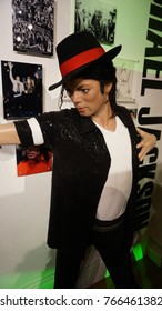 January 2017: Photo of Michael Jackson from famous wax museum of Madame Tussaud in center of London, United Kingdom