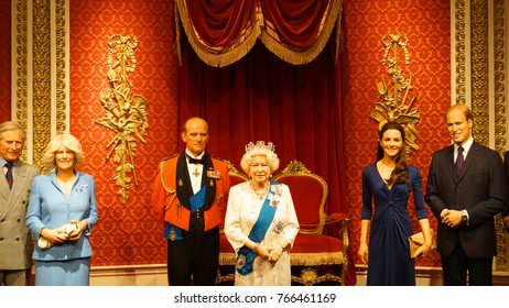 January 2017: Photo of Queen from famous wax museum of Madame Tussaud in center of London, United Kingdom