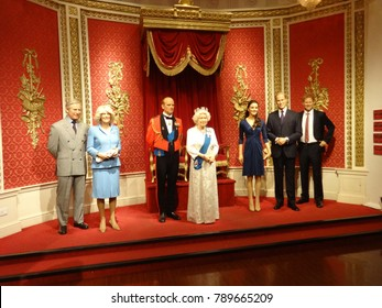 January 2017: Photo of Royal Family and Queen Elizabeth as seen in Madame Tussaud museum, London, United Kingdom