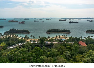 January 2017: Scenic view of an artificial beach next to Siloso Point, Singapore