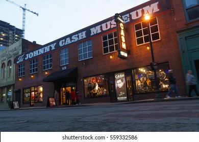 January 2017.Johnny Cash museum building in downtown Nashville, TN.. Johnny Cash is an American singer-songwriter, one of most influential figure in country music.