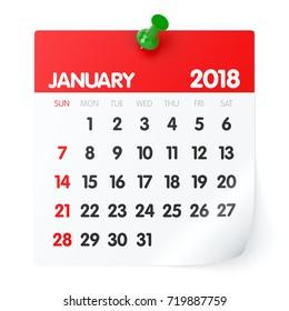 January 2018 - Calendar. Isolated on White Background. 3D Illustration