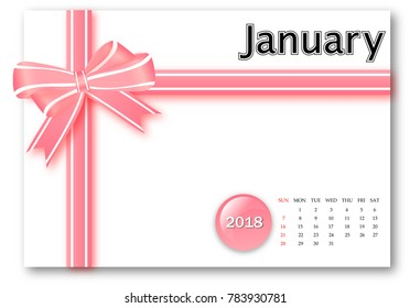 January 2018 - Calendar series with gift ribbon design