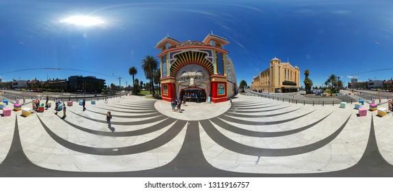 JANUARY 2018 - MELBOURNE: 400 x 180 degree Panorama: Luna Park, St. Kilda, Australia.