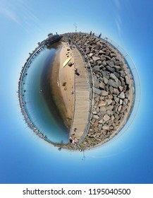 JANUARY 2018 - MELBOURNE: full circle panorama: St. Kilda Pier, St. Kilda, Australia.