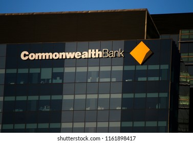 "JANUARY 2018 - MELBOURNE: the logo of the brand ""Commonwealth Bank""."