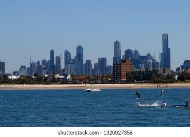 JANUARY 2018 - MELBOURNE: Skyline seen from St. Kilda, Australia