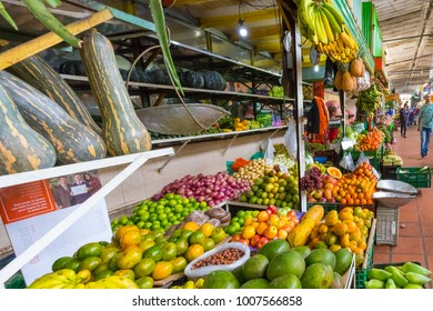 January 2018  In the morning the retail market of Medellin is full of locals and tourist as it is a meeting point with fresh fruit and vegetables and small restaurants