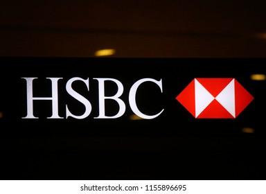 "JANUARY 2018 - SINGAPORE: the logo of the brand ""HSBC""."