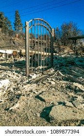 JANUARY 2018, VENTURA CALIFORNIA - Destroyed homes from 2018 Thomas Fire off Foothill Road in the Via Arroyo and Via Pasito neighborhood, the largest fire in California history
