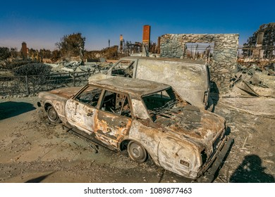 JANUARY 2018, VENTURA CALIFORNIA - Destroyed homesand cars from 2018 Thomas Fire off Foothill Road in the Via Arroyo and Via Pasito neighborhood, the largest fire in California history