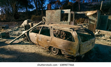 JANUARY 2018, VENTURA CALIFORNIA - Destroyed homes and cars from 2018 Thomas Fire off Foothill Road in the Via Arroyo and Via Pasito neighborhood, the largest fire in California history
