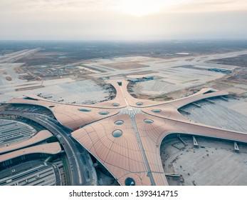 January 2019, Beijing China: Beijing Daxing International Airport is under construction.