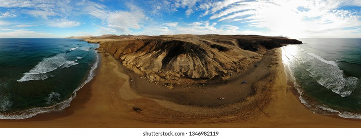 JANUARY 2019 - FUERTEVENTURA: 360 x 130  degree panorama: aerial view: dunes and beach, Atlantic Ocean, Istmo de la Pared, Jandia, Canary Islands, Spain.