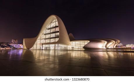 January 2019. The Heydar Aliyev Center at night. Panorama photo. Baku. Azerbaijan.