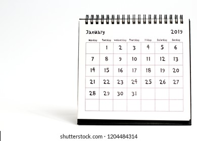 January 2019 paper calendar isolated on white background