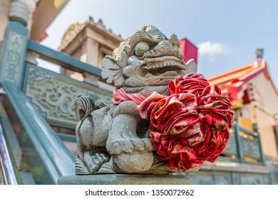 January 2019. Phuket Town Thaialnd. Ornate detail at Jui Tui temple in Phuket Town Thailand