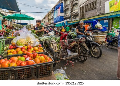 January 2019. Phuket Town Thailand. A scene at the local 24 hour market phuket town