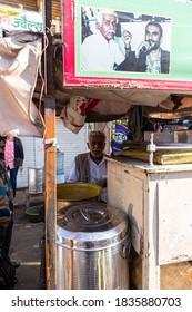 january 2020 jaisalmer,rajasthan india a man selling street food at jaisalmer.