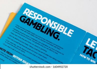 January 2020, Swansea, UK. Responsible Gambling - How to Bet & Trade Leaflet Brochure