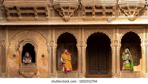 january 2020,jaisalmer,rajasthan  Indian woman dressed in traditional Rajasthani outfit  at Patwon ki haveli jaisalmer,rajasthan