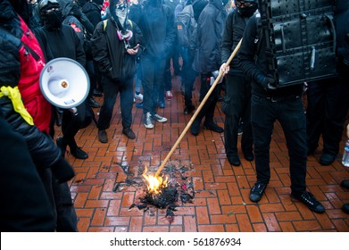 January 20th, 2017: Donald Trump inaguration protest in Downtown Portland, OR.