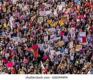 JANUARY 21, 2017, LOS ANGELES, CA. Aerial View of 750,000 participate in Women's March, activists protesting Donald J. Trump in nation's largest march the day after Presidential Inaugural, 2017