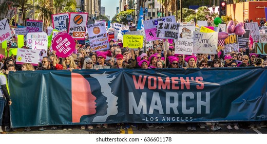 JANUARY 21, 2017, LOS ANGELES, CA. 750,000 participate in Women's March, activists protesting Donald J. Trump in nation's largest march the day after Presidential Inaugural, 2017