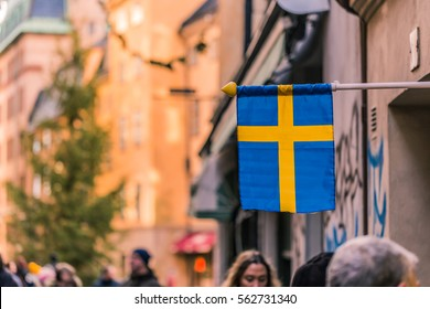January 21, 2017: Swedish flag in the old town of Stockholm, Sweden
