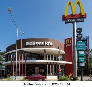 January 21, 2018 - Chiang Mai, Thailand. McDonald's drive in restaurant on the superhighway.