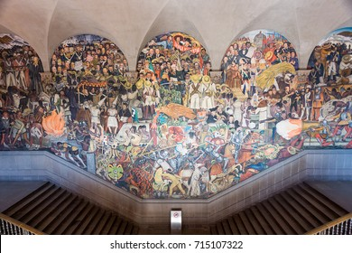 January 22, 2017. The History of Mexico, Diego Rivera fresco mural, National Palace, Mexico City