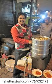 January 22, 2017, India, the city of New Delhi, the Main Bazar Street. Street food dealer