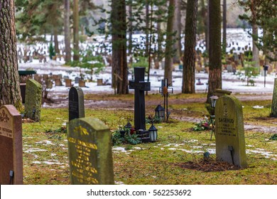 January 22, 2017: Tombstones in the Skogskyrkogarden graveyard in Stockholm, Sweden