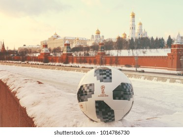 January 22, 2018. Moscow, Russia. The official ball of the FIFA World Cup 2018 Adidas Telstar 18 against the backdrop of the Moscow Kremlin. Toned.