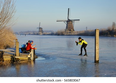 January 22nd 2017: Skating on ice near the Windmills of Kinderdijk, the Netherlands.