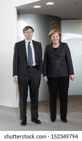 JANUARY 23, 2008 - BERLIN: Microsoft founder Bill Gates and Chancellor Angela Merkel at a meeting in the Chanclery in Berlin.
