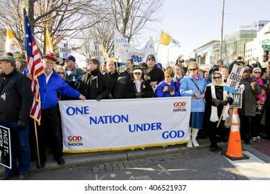 January 23, 2009, Washington, DC USA: Pro-Life activists rally on the National Mall holding signs.