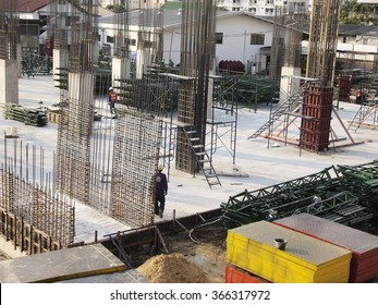 JANUARY 23, 2016 : NONTHABURI - THAILAND : Under-construction of concrete building for car parking at Electricity generating authority of Thailand, Nonthaburi province.